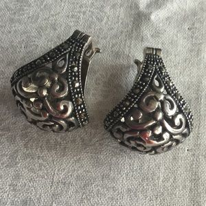 Sterling Silver and Marcasite Drop Earrings